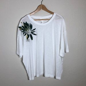 Anna Glover H&M White Tee With Embroideries